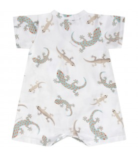 White babyboy rompers with colorful geckos