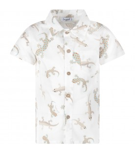 White boy shirt with colorful geckos