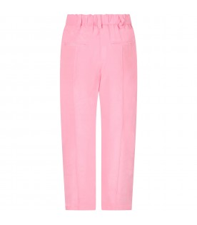 Pink pants for girl with white stripes
