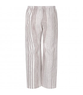 Beige and white boy pants with stripes