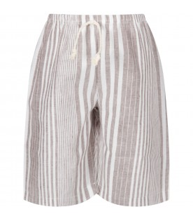 Beige and white boy short with stripes
