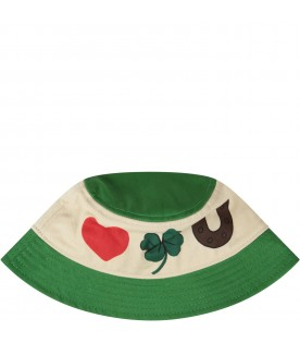 Ivory and green girl sun hat