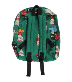 Green girl backpack with dogs and cats