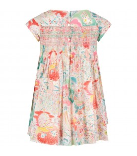 Multicolor girl dress with colorful prints