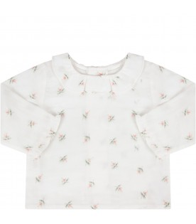 White babygirl T-shirt with flowers