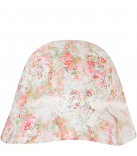 White babygirl sun hat with flowers