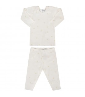 Ivory babygirl pajamas with gold cherries