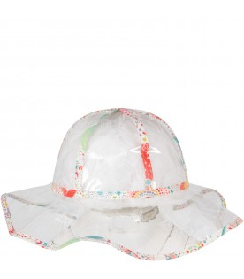 Clear hat for girl with white flowers