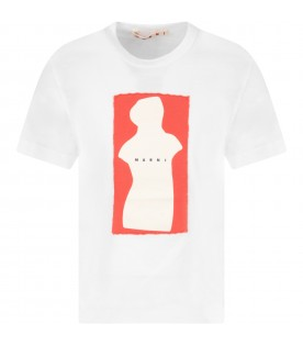 White T-shirt for girl with print