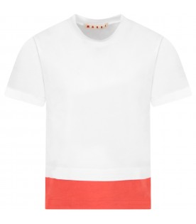 White and red girl T-shirt with logo