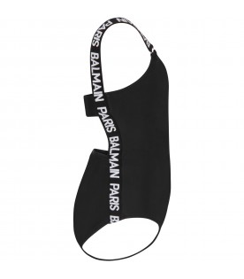 Black swimsuit with logo for girl