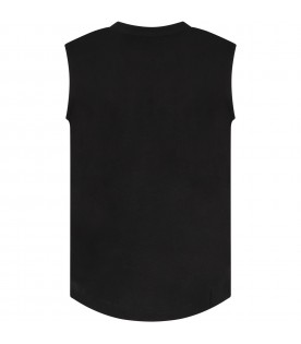 Black top with silver logo for girl