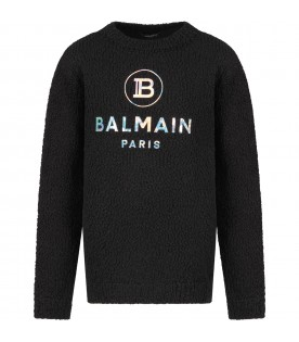 Black sweater with silver logo