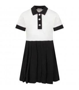Ivory and black girl dress with iconic patch