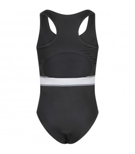 Black swimsuit for baby girl with logo
