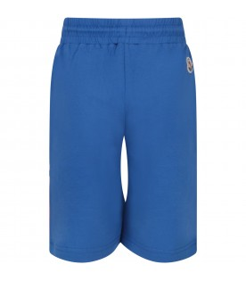 Azure boy short with white logo