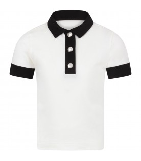 Ivory and black  girl polo shirt with iconic patch