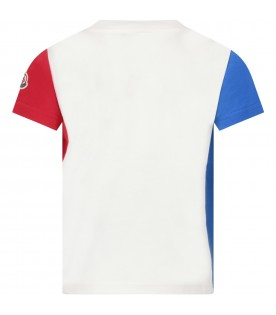 White, azure and red boy T-shirt with iconic patch