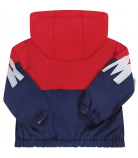 Red and blue babyboy windbreaker with logo
