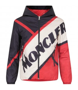 Blue, red and white boy jacket with logo