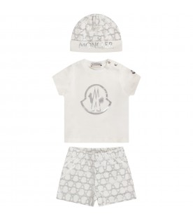 Ivory babygirl set with silbver iconic logo