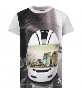 Grey boy T-shirt with helmet