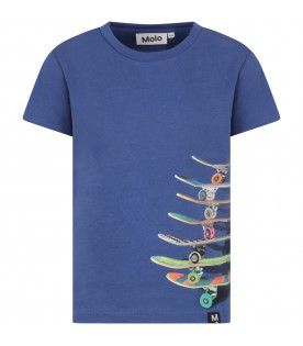 Blue boy T-shirt with skateboard