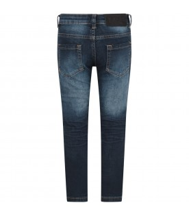Blue boy jeans with logo