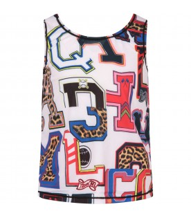 Multicolor girl tank top with letters