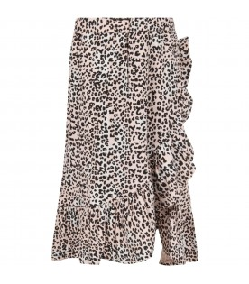 Pink girl skirt with animalier print
