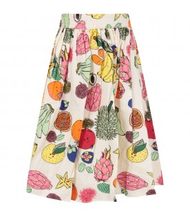Ivory girl skirt with colorful fruits