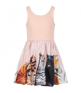Pink girl dress with colorful animlas