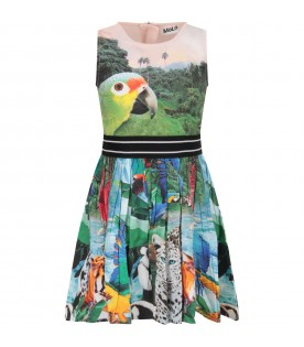 Multicolor dress for girl with colorful parrots