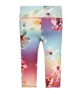 Colorful girl leggings with colorful flowers