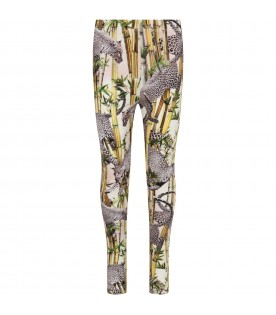 Colorful girl leggings with leopards