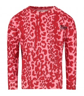 Pink girl sweatshirt with animalier print