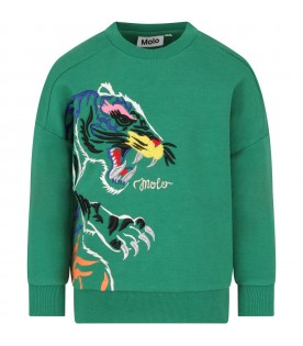 Green kids sweatshirt with colorful tiger