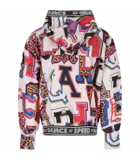 Multicolor girl windbreaker with letters