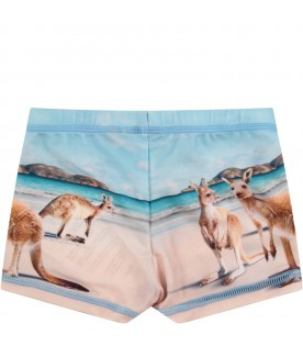 Light blue and beige boy swimsuit with kangaroos