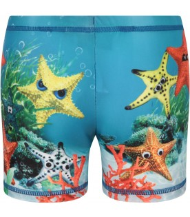 Azure boy swimsuit with starfish
