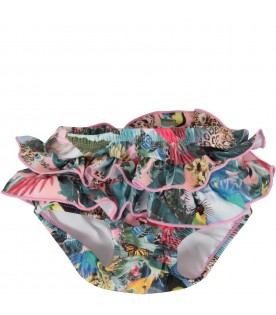 Multicolor babygirl swimsuit with parrots and butterflies