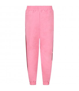 Pink girl pants with red stripes