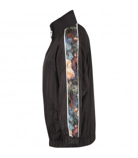 Black girl windbreaker with flowers