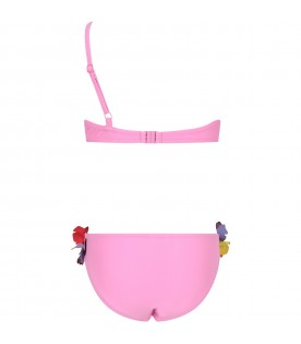 Pink girl bikini with butterflies