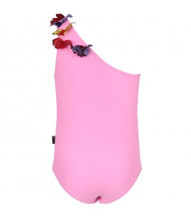 Pink girl swimsuit with butterflies
