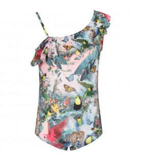 Multicolor girl swimsuit with parrots and butterflies