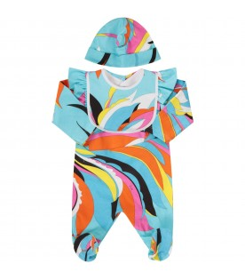 Light blue babygirl suit with colorful iconic brand's print