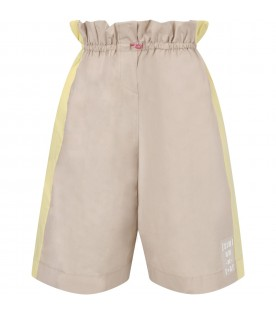 Biege girl short with logo