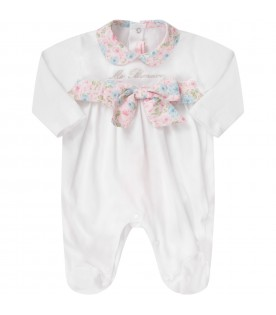White babygirl babygrow with silver logo and flowers