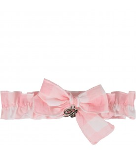 White and pink babygirl headband with bow